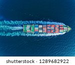 aerial top view container ship... | Shutterstock . vector #1289682922