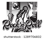 poster with guitar  hand and...   Shutterstock .eps vector #1289706832