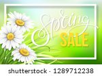 frame with grass and chamomile. ... | Shutterstock .eps vector #1289712238