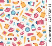 cute seamless pattern with flat ... | Shutterstock .eps vector #1289720458
