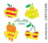healthy food. measuring tape... | Shutterstock .eps vector #1289726308