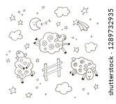 good night cartoon background...   Shutterstock .eps vector #1289732935