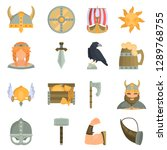 viking culture color flat icons ... | Shutterstock .eps vector #1289768755