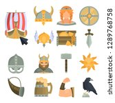 viking culture color flat icons ... | Shutterstock .eps vector #1289768758