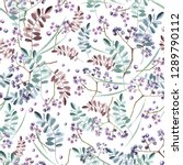 botanical pattern with purple... | Shutterstock . vector #1289790112