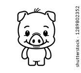 cute pig cartoon. piglet... | Shutterstock .eps vector #1289802352