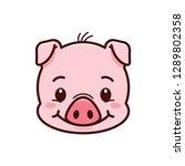pig icon. logo piglet face.... | Shutterstock .eps vector #1289802358