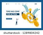 isometric businessmen climb the ... | Shutterstock .eps vector #1289804242