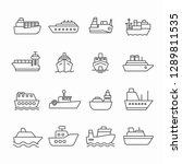 set of boat related vector line ... | Shutterstock .eps vector #1289811535