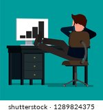 businessman relaxes sitting at... | Shutterstock .eps vector #1289824375