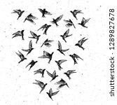 set of black hand drawn strokes ... | Shutterstock .eps vector #1289827678