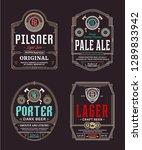 vector vintage beer thin line... | Shutterstock .eps vector #1289833942