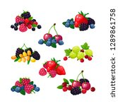 fresh summer berries. piles of...   Shutterstock .eps vector #1289861758