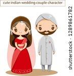 cute indian wedding couple... | Shutterstock .eps vector #1289861782
