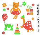 set of cheerful animals | Shutterstock . vector #128987336