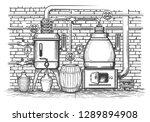vintage distillation equipment. ... | Shutterstock .eps vector #1289894908