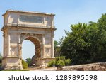 View on the Arch of Constatine in Rome, Italy on a sunny day.