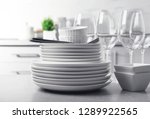 set of clean dishes and cutlery ... | Shutterstock . vector #1289922565