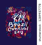brazil carnival 2019. beautiful ... | Shutterstock .eps vector #1289937778
