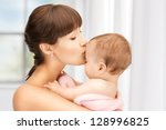 picture of happy mother with... | Shutterstock . vector #128996825