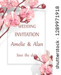 wedding invitation with flowers ... | Shutterstock .eps vector #1289971918