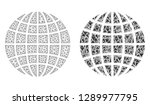mesh vector globe with flat... | Shutterstock .eps vector #1289977795