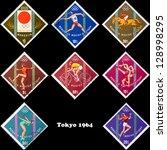 mongolia   circa 1964  a set of ... | Shutterstock . vector #128998295