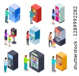 isometric vending machine and... | Shutterstock .eps vector #1289992282