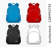 school rucksack. kids backpacks.... | Shutterstock .eps vector #1289992735