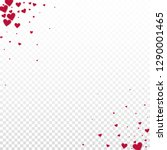 Red heart love confettis. Valentine's day corner noteworthy background. Falling stitched paper hearts confetti on transparent background. Ecstatic vector illustration.
