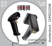 hand held wireless barcode... | Shutterstock .eps vector #1290012208