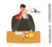sick man sneezes with flu... | Shutterstock .eps vector #1290022498