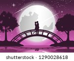couple hug together and kiss on ... | Shutterstock .eps vector #1290028618