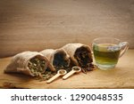 herbal tea is in a brown sack... | Shutterstock . vector #1290048535
