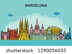 barcelona city tour cityscape... | Shutterstock .eps vector #1290056035