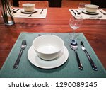 the wooden dining table set | Shutterstock . vector #1290089245