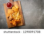 fried chicken with french fries ...   Shutterstock . vector #1290091708