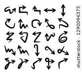 doodle arrows vector set | Shutterstock .eps vector #1290094375