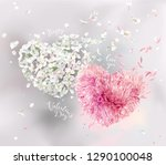 Stock vector romantic vector image for valentine s day two vector flower hearts with flying petals in 1290100048