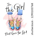 girly slogan with legs on... | Shutterstock .eps vector #1290103768
