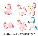 set of unicorn character... | Shutterstock .eps vector #1290105922