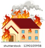 isolated modern house on fire... | Shutterstock .eps vector #1290105958
