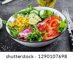 vegan buddha bowl. bowl with... | Shutterstock . vector #1290107698