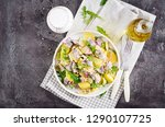 traditional  salad of salted...   Shutterstock . vector #1290107725