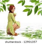 cute girl with fresh green apple | Shutterstock . vector #12901357