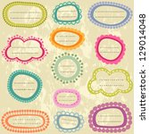 colorful labels set on aged...   Shutterstock .eps vector #129014048