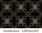 gold metal with floral pattern. ... | Shutterstock . vector #1290161392