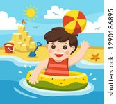a boy play and  swim at the sea.... | Shutterstock .eps vector #1290186895