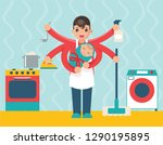 household father with child... | Shutterstock .eps vector #1290195895