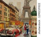 rainy paris vintage poster. | Shutterstock . vector #1290219322
